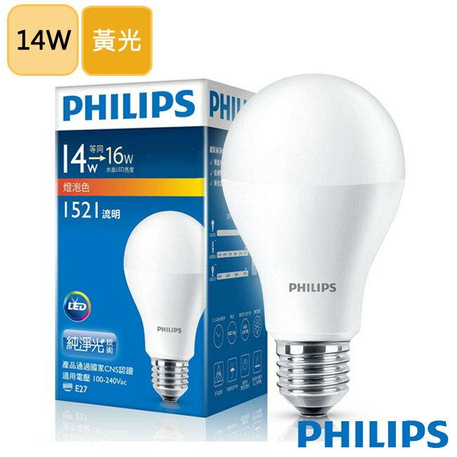 飛利浦 PHILIPS【平均一顆183元】LED球型 14W 廣角LED燈泡E27 黃光3000K 全電壓(6入組)