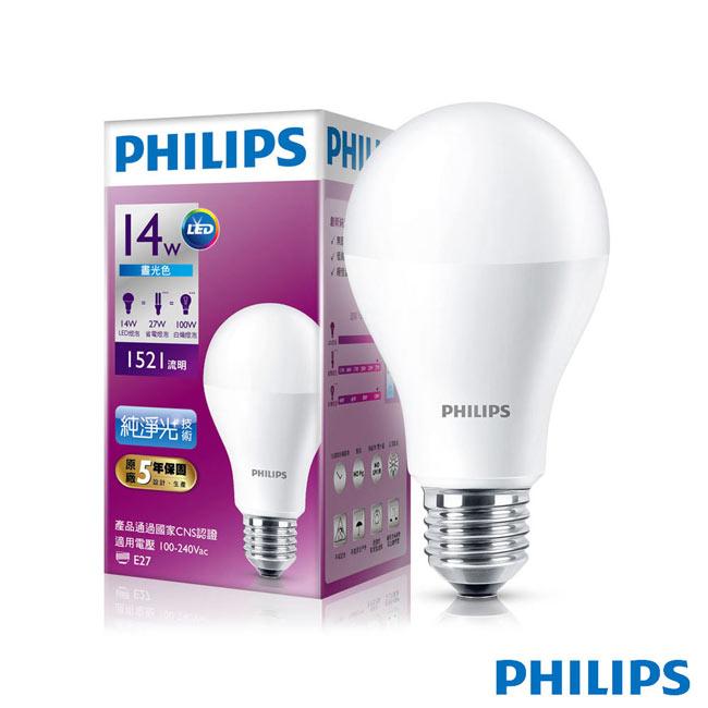 【飛利浦 PHILIPS】《保固五年》LED球型 14W 廣角LED燈泡E27 白光 6500K 全電壓(6入組)