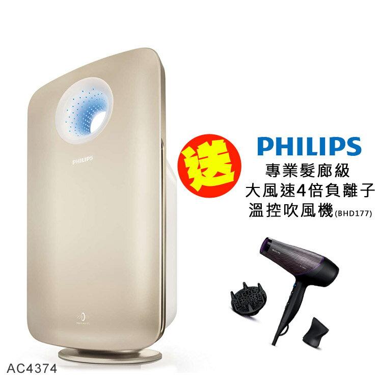 【飛利浦 PHILIPS】《送飛利浦負離子吹風機BHD177》頂級淨化空氣清淨機 (AC4374/80)