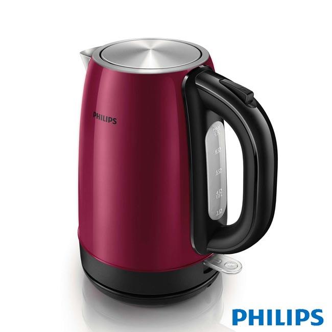 【飛利浦 PHILIPS】1.7L 不鏽鋼煮水壺-酒紅色 (HD9322)