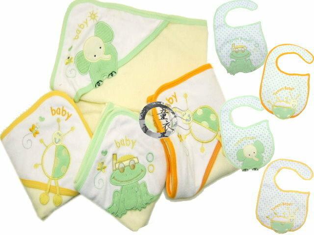 童衣圓 【K024】K24包巾圍兜2件組 繡花 三角帽 護頭 浴巾 抱被 小被 防水 彎頭圍兜 彌月禮