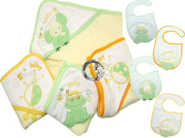 童衣圓【K024】K24包巾圍兜2件組繡花三角帽護頭浴巾抱被小被防水彎頭圍兜彌月禮