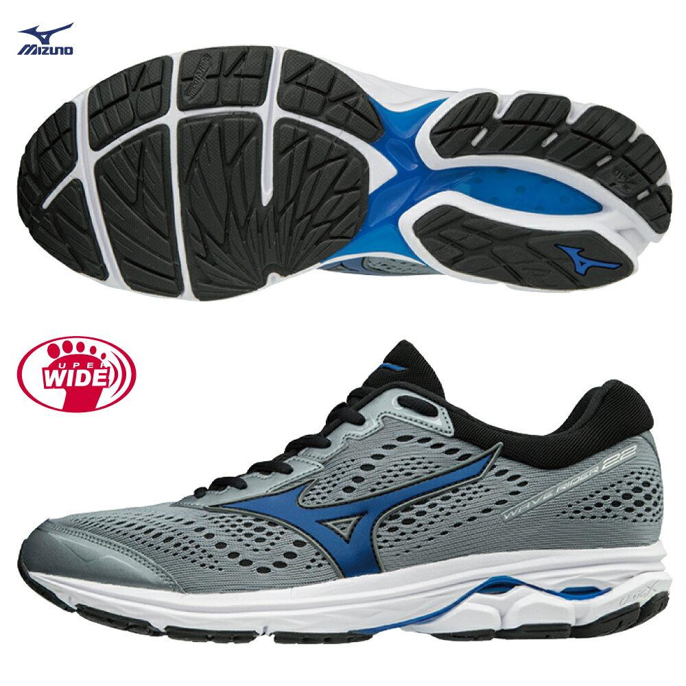 WAVE RIDER 22 一般型 超寬楦 男款慢跑鞋 J1GC183225(灰X丈青)【美津濃MIZUNO】 - 限時優惠好康折扣