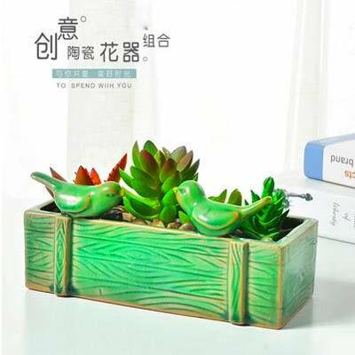 【老樁多肉植物花盆-兩款可選-1款/組】陶瓷綠植創意景觀粗陶多肉花盆-5170851-1