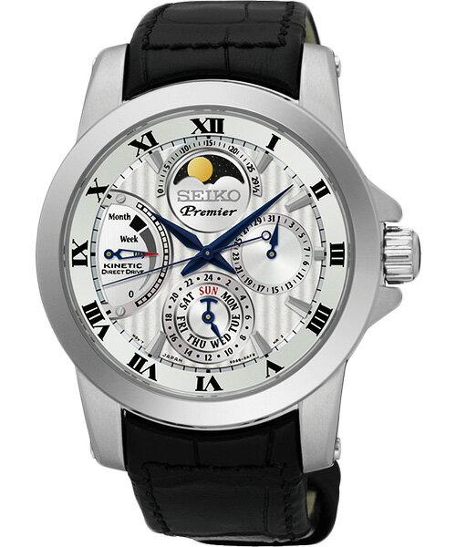 Seiko Premier 5D88-0AG0P(SRX011J2)人動電能萬年曆月相經典腕錶/白面41mm