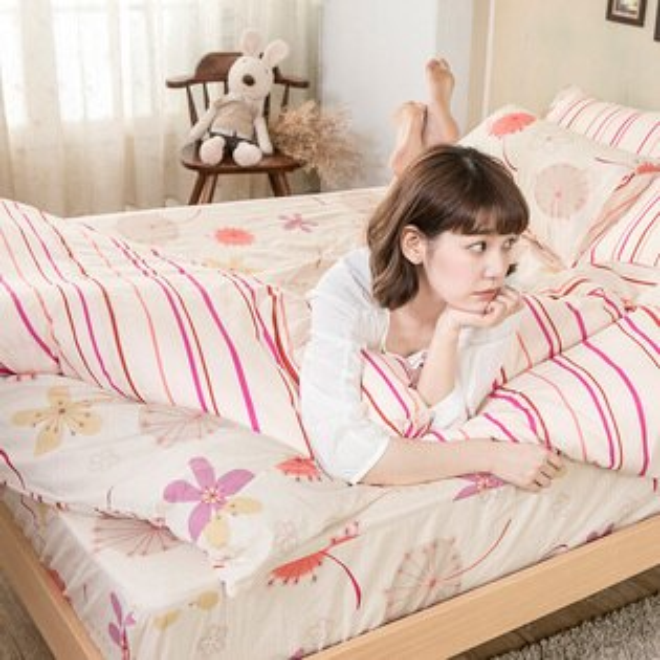 戀家小舖:兩用被雙人-100%純棉【輕盈粉】冬夏鋪棉兩用被套6*7尺,台灣製,戀家小舖