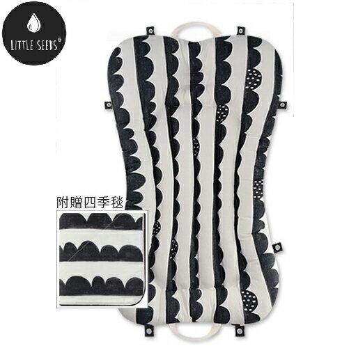 【贈四季毯+收納袋】韓國【Little Seeds】嬰兒口袋床墊組-音浪紋