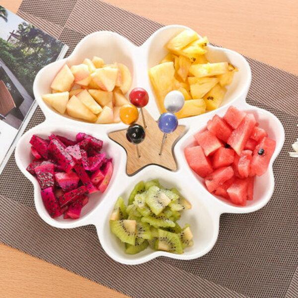 Alice餐廚好物:歐式五連心型陶瓷果乾盤三件組|水果零食盤|年節必備|居家必備|預購