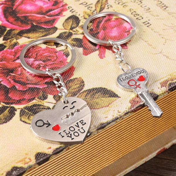 1 Pair Alloy Couple Keychain Valentine's day Gift Heart Shape Key Decor Sets 5