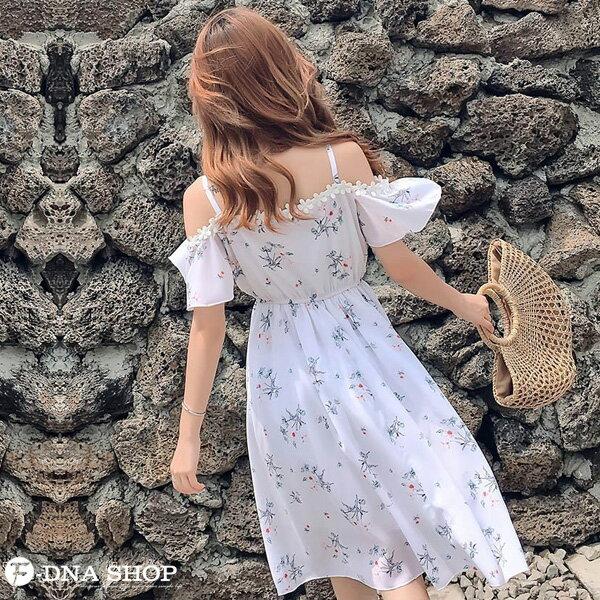 F-DNA★碎花露肩細肩帶雪紡連衣裙洋裝(白花-M-XL)【EV61096】 7