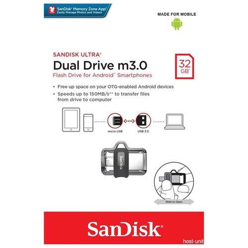 SanDisk 32GB OTG Ultra Dual microUSB 32G USB 3.0 150MB/s Flash Pen Drive SDDD3-032G + USB 2.0 OTG microUSB Reader 1