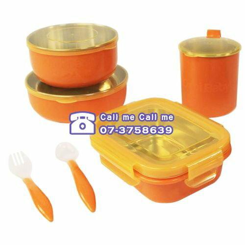 美國 Onbi baby 歐比寶貝 不鏽鋼攜帶式餐具(綠/橘)★衛立兒生活館★