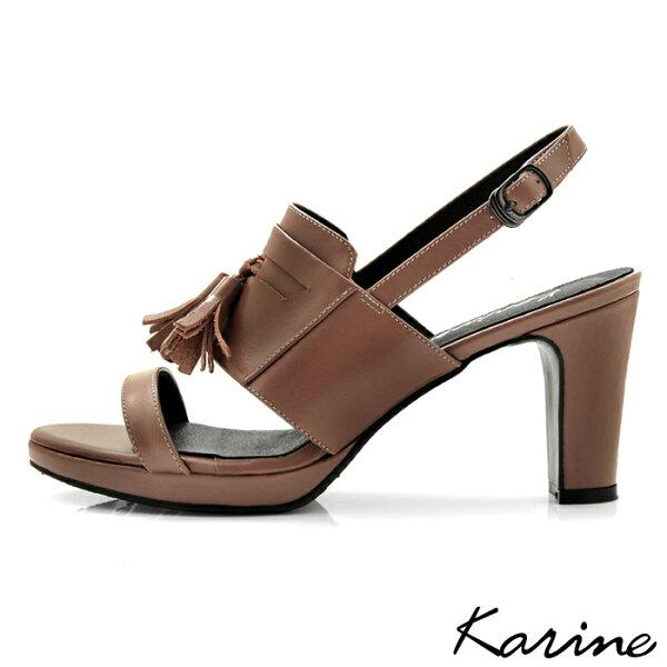 karine(MIT台灣製)全真皮一字帶流蘇高跟涼鞋-棕色