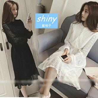 【V0311】shiny藍格子-完美女孩.優質顯瘦甜美圓領高腰蕾絲長袖洋裝