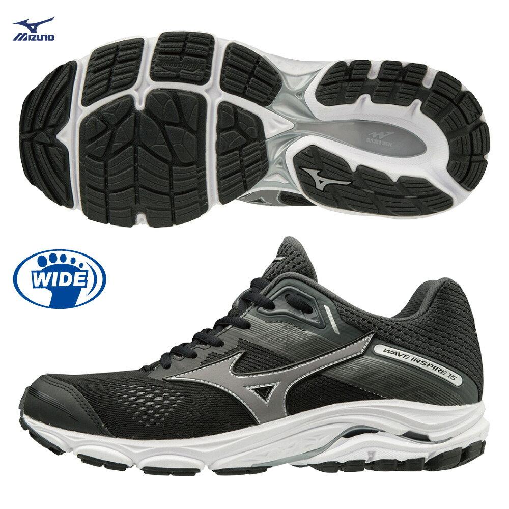 WAVE INSPIRE 15 支撐型寬楦女款慢跑鞋 J1GD194651(黑)【美津濃MIZUNO】 0