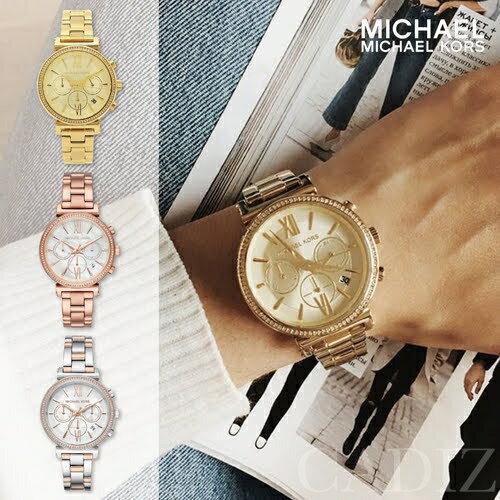 美國正品 Michael Kors 金色玫瑰金三眼計手錶 Pavé Watch MK6576 MK6558 MK6559 - 限時優惠好康折扣