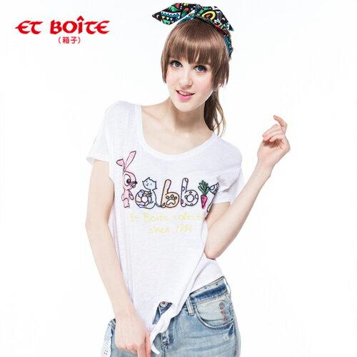 【8折限定↘】ET BOiTE 箱子  Rabbit 綁帶T恤(白) 0