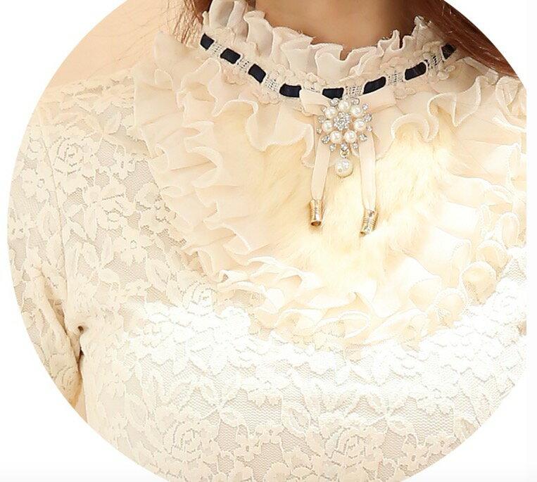 長袖加絨加厚蕾絲打底衫長款 t恤女上衣蕾絲衫