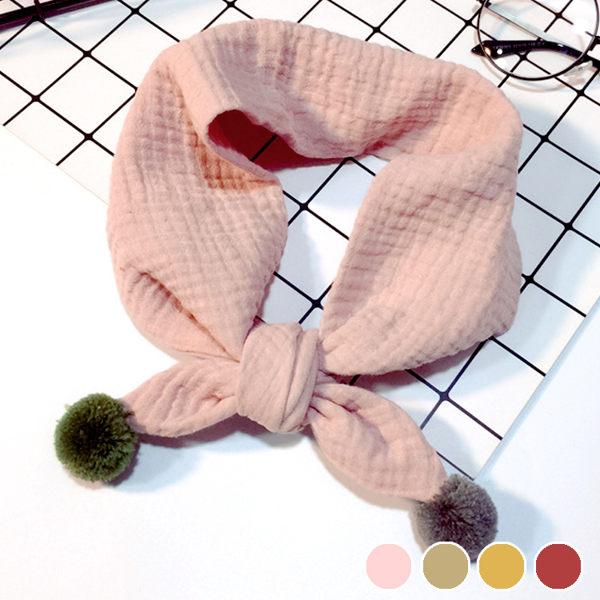 PS Mall 韓版純棉針織掛球 兒童圍巾 兒童圍脖 脖套【J589】