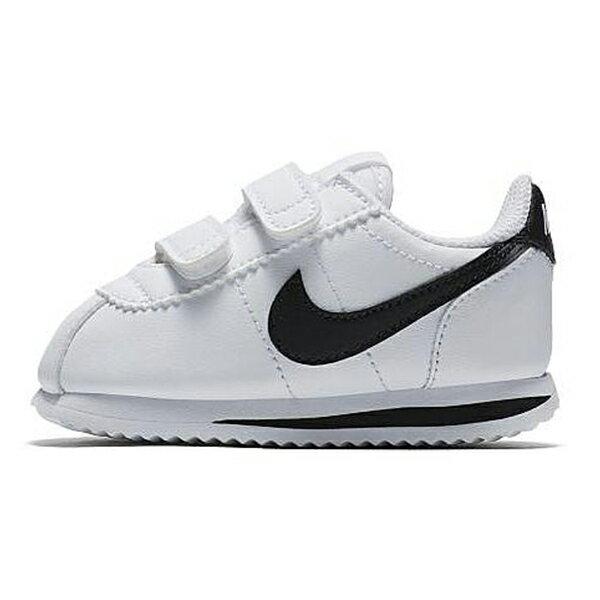 NIKE【904769-102】CORTEZ BASIC SL TD 阿甘鞋 皮革 黏帶 白黑 小童鞋