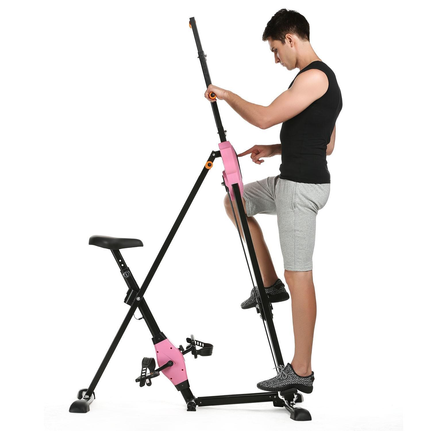 Vertical Climber Gym Exercise Fitness Machine Stepper Cardio Workout Training non-stick grips Legs Arms Abs Calf 0