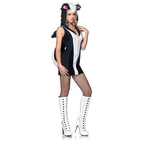 Leg Avenue 83878 Stinkin'Cute Skunk,zipper front dress w/plush hood and bendable tail MED/LGE BLACK/ 0