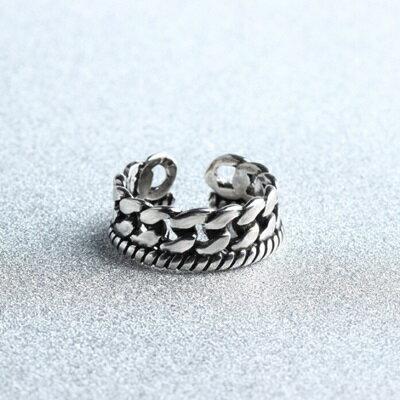 925純銀戒指麻花鎖鏈開口戒~ 百搭復古情人節生日 女飾品73gp32~ ~~米蘭 ~