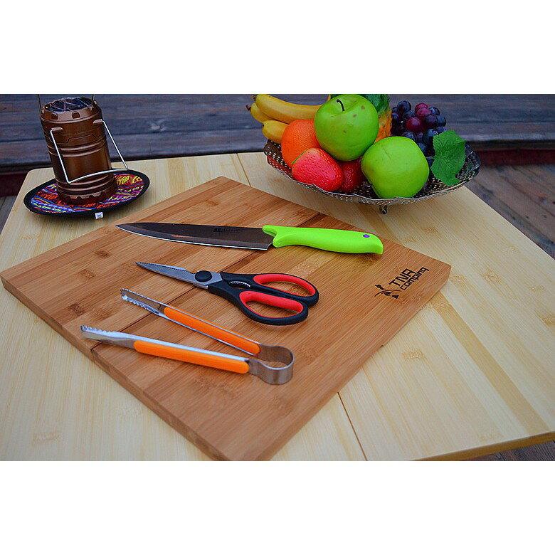 ✨現貨 TNR 露營便攜式摺疊砧板剪刀刀具組含收納袋 竹製 摺疊