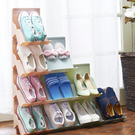 ?MY COLOR?可疊加多功能鞋架 立體 收納 書櫃 拼接 落地 桌面 整理 分類 球鞋 拖鞋【A36】