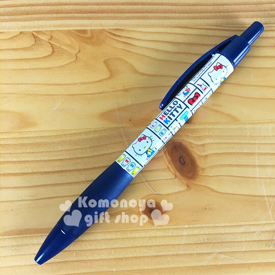 〔小禮堂〕Hello Kitty 原子筆~藍白.側坐.牛奶.70年代系列~黑色筆芯 ~