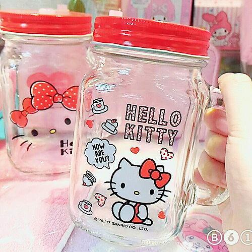 kitty梅森罐萬用收納罐飲料罐玻璃杯側坐463158大臉463349