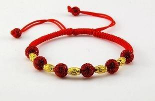 新款紅繩銀鍍金 奢華水晶手鏈花團錦簇婚禮
