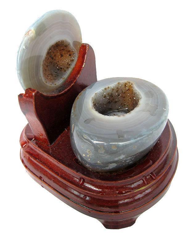瑪瑙聚寶盆0.68千克水晶聚寶盆水晶洞錢袋子