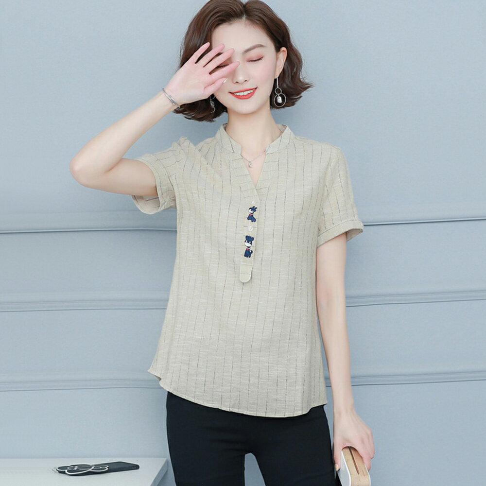 大碼寬鬆棉麻休閒短袖襯衫(2色M~4XL)【OREAD】 2