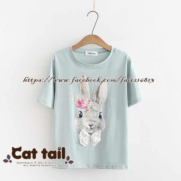 《貓尾巴》TS-0923可愛卡通兔短袖T恤(森林系日系棉麻文青清新)