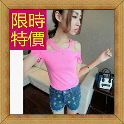 ☆T恤 短袖露肩裝-性感流行純棉質女短版上衣55a66【韓國進口】【米蘭精品】