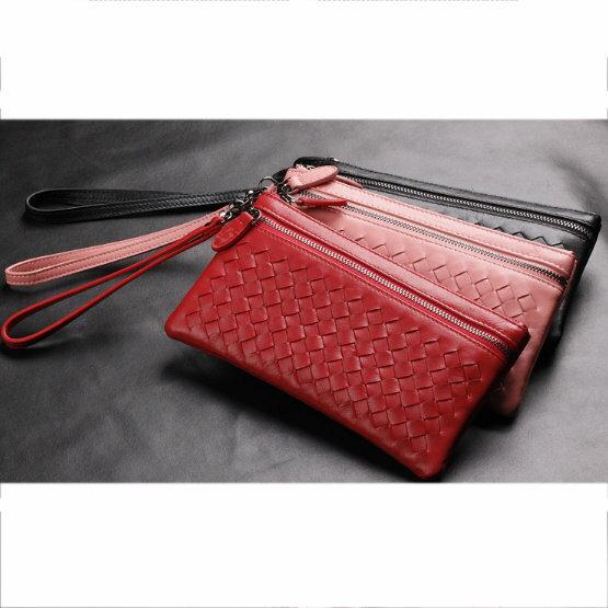 手拿包 真皮編織包-時尚手工皮革肩背女包包3色5b42【義大利進口】【米蘭精品】