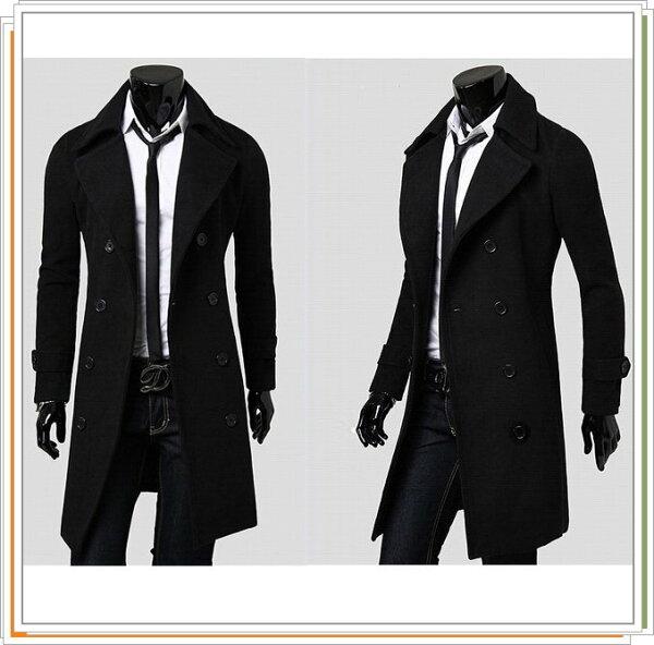 ☆風衣外套 長大衣-流行時尚保暖防寒長版男外套3色5z25【韓國進口】【米蘭精品】