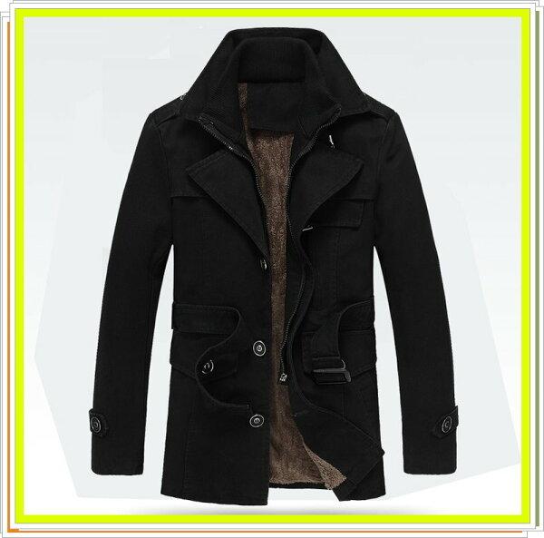 ☆風衣外套 長大衣-流行時尚保暖防寒長版男外套2款3色5z33【韓國進口】【米蘭精品】