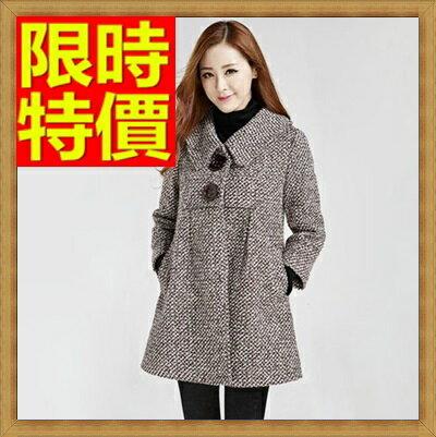 ~毛呢外套 女大衣~羊毛美麗諾大碼翻領中長版女外套2色63ae46~韓國 ~~米蘭 ~