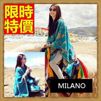 羊毛披肩 圍巾-時尚張雨綺西藏同款民族風超大女斗篷63ag47【義大利進口】【米蘭精品】