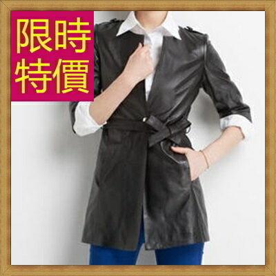 ☆風衣外套 真皮皮衣-時尚修身保暖長版女大衣2色63o2【義大利進口】【米蘭精品】