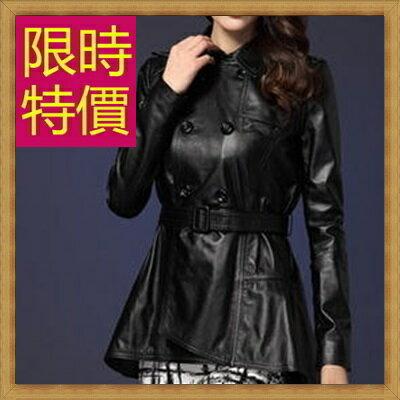 ☆風衣外套 真皮皮衣-時尚修身保暖長版女大衣3色63o26【義大利進口】【米蘭精品】