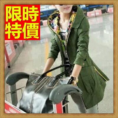 ☆軍裝外套 女大衣-假兩件防風連帽修身版中長款女夾克64c3【韓國進口】【米蘭精品】