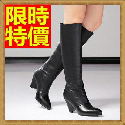 ☆長靴 高筒靴-真皮尖頭 中高跟 時尚女馬靴2色64e45【獨家進口】【米蘭精品】