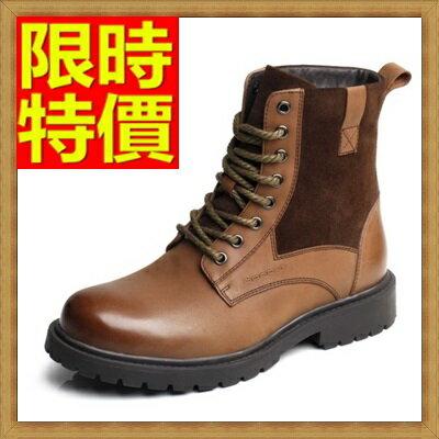 馬丁靴 男鞋子-真皮繫帶圓頭 加絨男中筒靴子2色64h14【義大利進口】【米蘭精品】