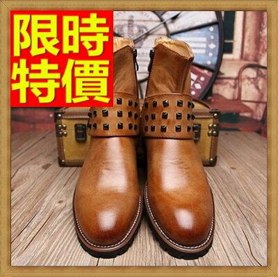 ~馬丁靴 鉚釘男鞋子~真皮圓頭 側拉鍊男中筒靴子2色64h24~義大利 ~~米蘭 ~