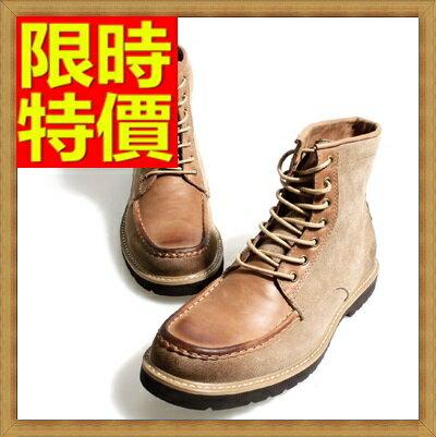 馬丁靴 拼接男鞋子-真皮方頭繫帶男中筒靴子64h28【義大利進口】【米蘭精品】