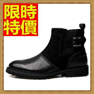 馬丁靴 拼接男鞋子-真皮加絨英倫男中筒靴子2色64h50【義大利進口】【米蘭精品】