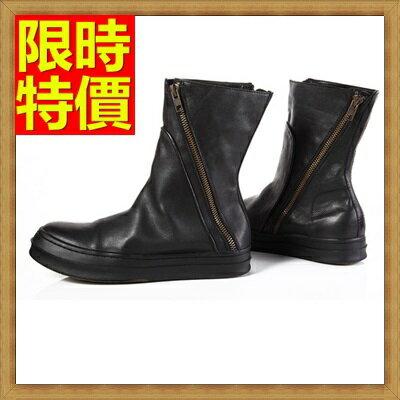 馬丁靴 男鞋子-真皮英倫拉鏈男中筒靴子64h63【義大利進口】【米蘭精品】